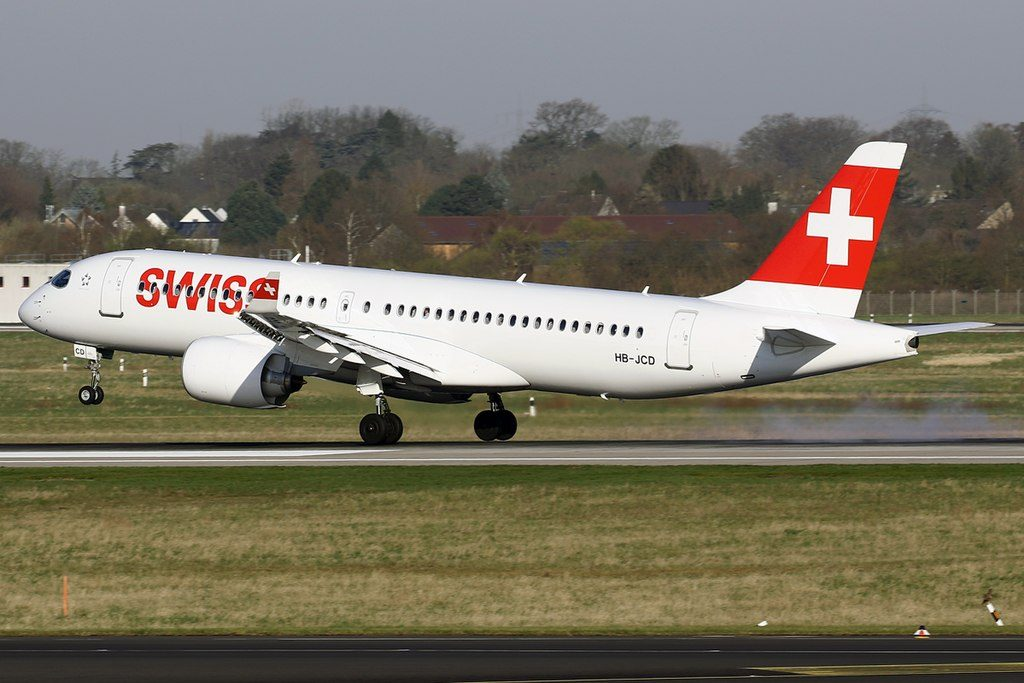 SWISS Bombardier CS300 HB JCD at Düsseldorf International Airport