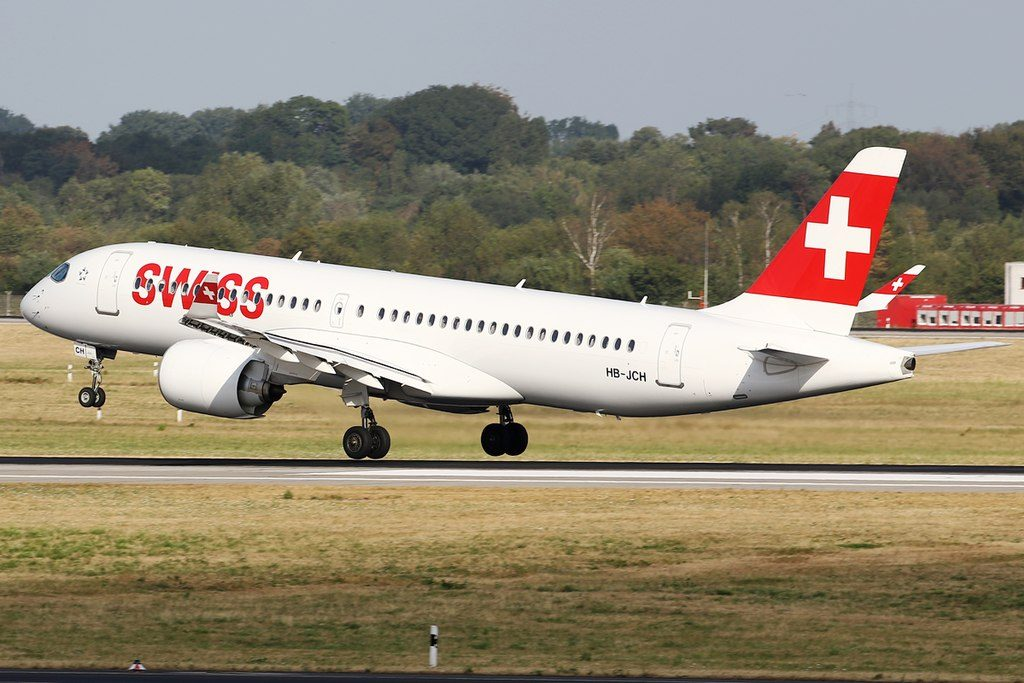 SWISS Bombardier CS300 HB JCH landing at Düsseldorf International Airport