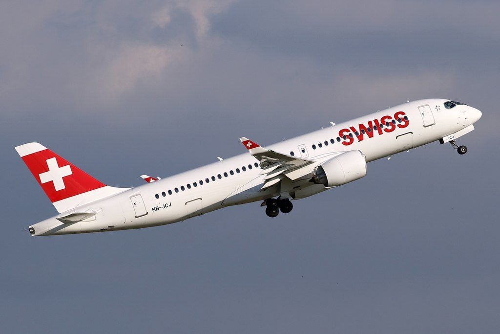 SWISS Bombardier CS300 HB JCJ departing Düsseldorf International Airport