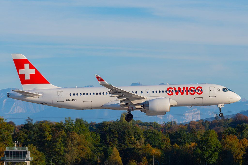 SWISS Bombardier CS300 HB JCN landing at Geneva Airport