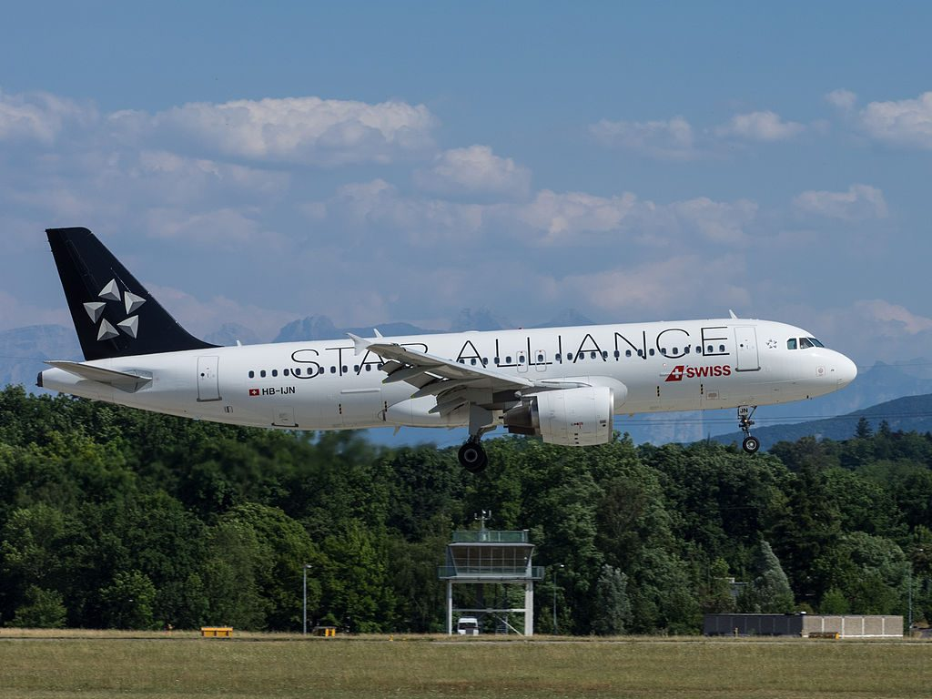 SWISS HB IJN Airbus A320 214 Star Alliance Livery Crans Montana at Geneva International Airport