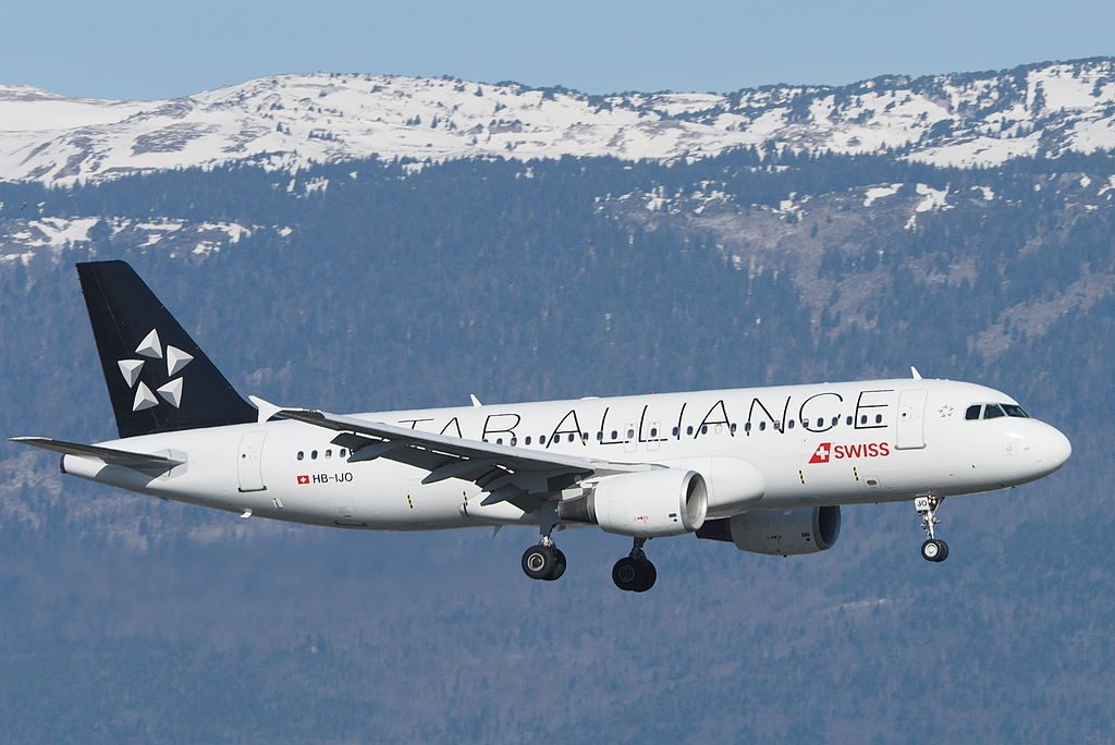 SWISS HB IJO Airbus A320 214 Verbier Star Alliance livery at Geneva International Airport