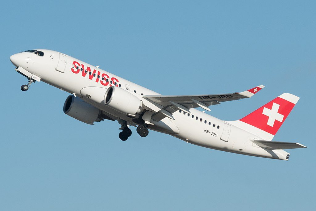 SWISS HB JBD Bombardier CS100 Airbus A220 100 departing Zurich International Airport