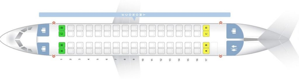Seat Map and Seating Chart ATR 72 500 600 Air New Zealand Link