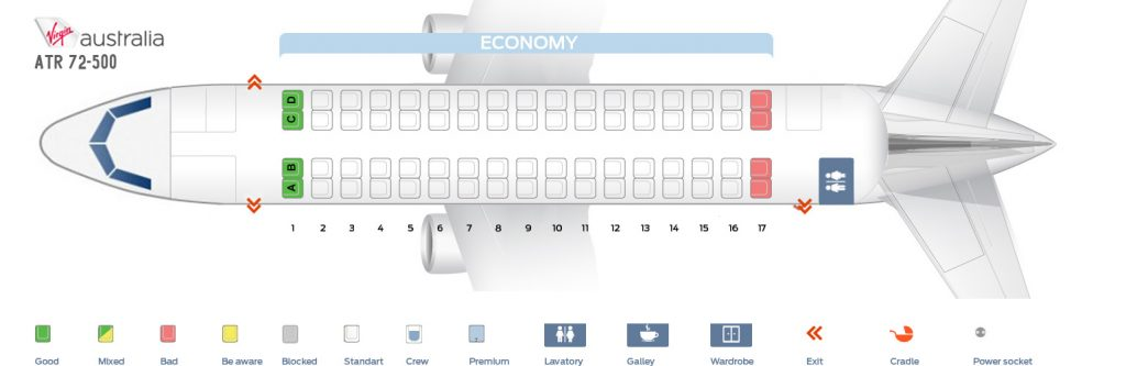 Seat Map and Seating Chart ATR 72 600 Virgin Australia