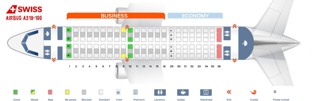 Seat Map and Seating Chart Airbus A319 100 SWISS