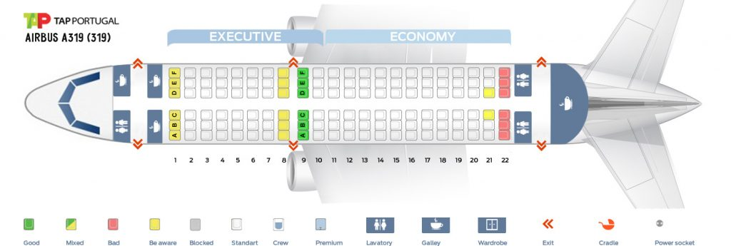 Seat Map and Seating Chart Airbus A319 100 V2 TAP Air Portugal