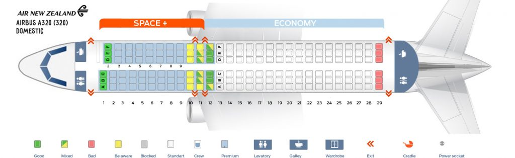 Seat Map and Seating Chart Airbus A320 200 Domestic Air New Zealand