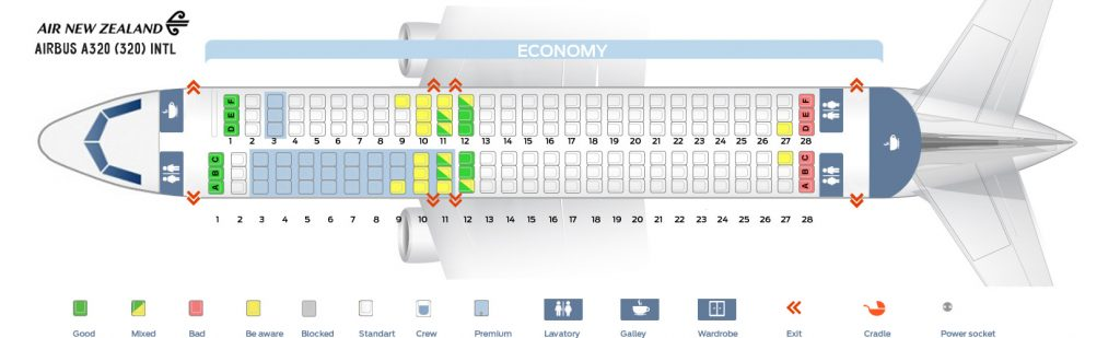 Seat Map and Seating Chart Airbus A320 200 International Air New Zealand