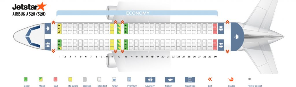 Seat Map and Seating Chart Airbus A320 200 Jetstar