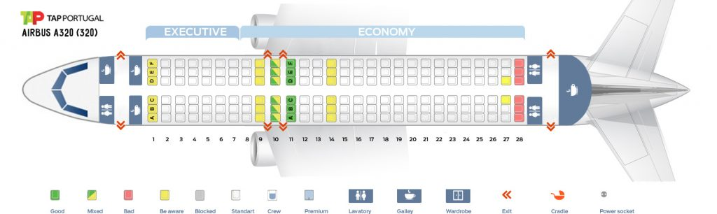 Seat Map and Seating Chart Airbus A320 200 TAP Air Portugal