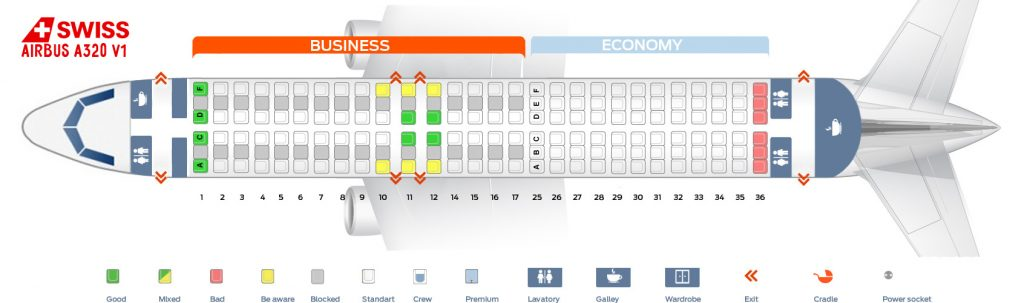 Seat Map and Seating Chart Airbus A320 200 V1 SWISS