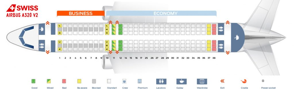 Seat Map and Seating Chart Airbus A320 200 V2 SWISS