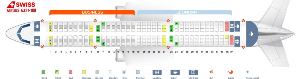 Seat Map and Seating Chart Airbus A321 100 200 V1 SWISS