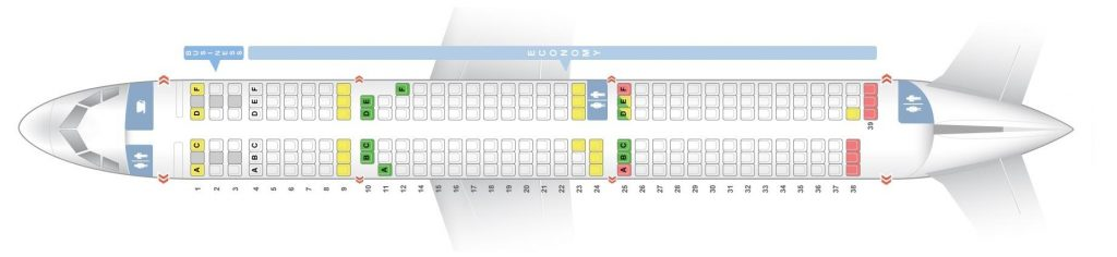 Seat Map and Seating Chart Airbus A321 100 200 V2 SWISS