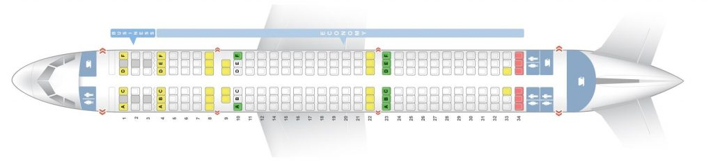 Seat Map and Seating Chart Airbus A321 100 Aegean Airlines