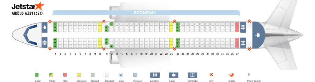 Seat Map and Seating Chart Airbus A321 200 Jetstar