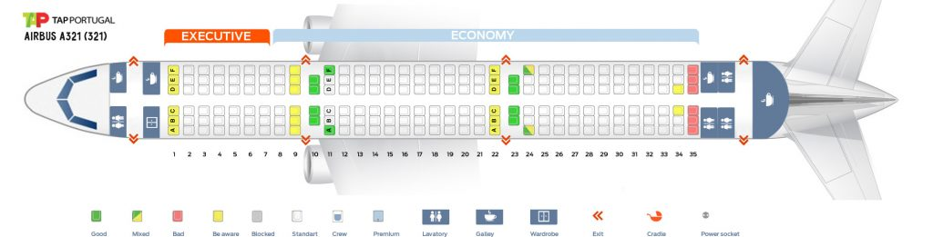 Seat Map and Seating Chart Airbus A321 200 TAP Air Portugal