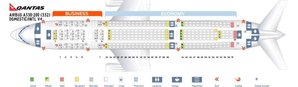 Seat Map and Seating Chart Airbus A330 200 Domestic International V4 Qantas