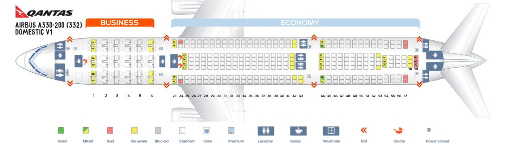 Seat Map and Seating Chart Airbus A330 200 Domestic V1 Qantas