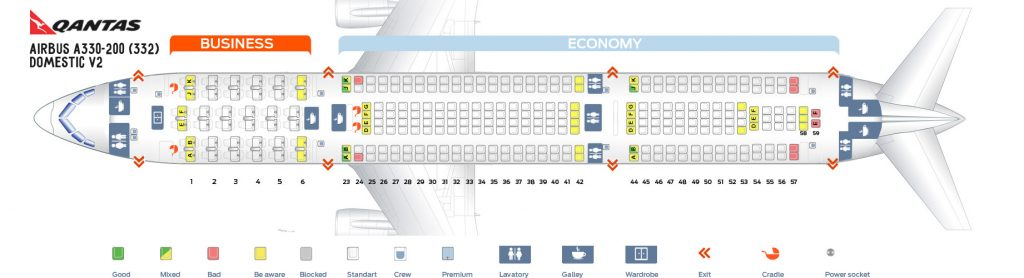 Seat Map and Seating Chart Airbus A330 200 Domestic V2 Qantas