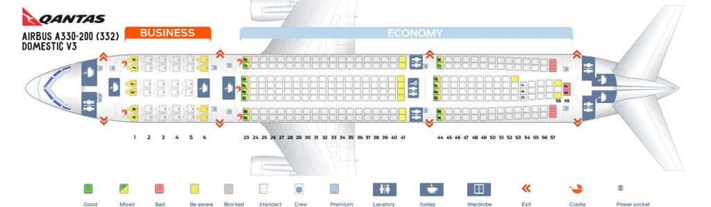 Seat Map and Seating Chart Airbus A330 200 Domestic V3 Qantas