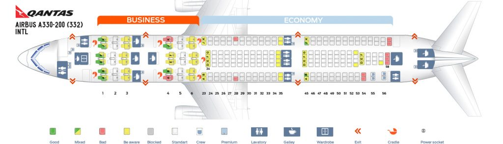 Seat Map and Seating Chart Airbus A330 200 International Qantas