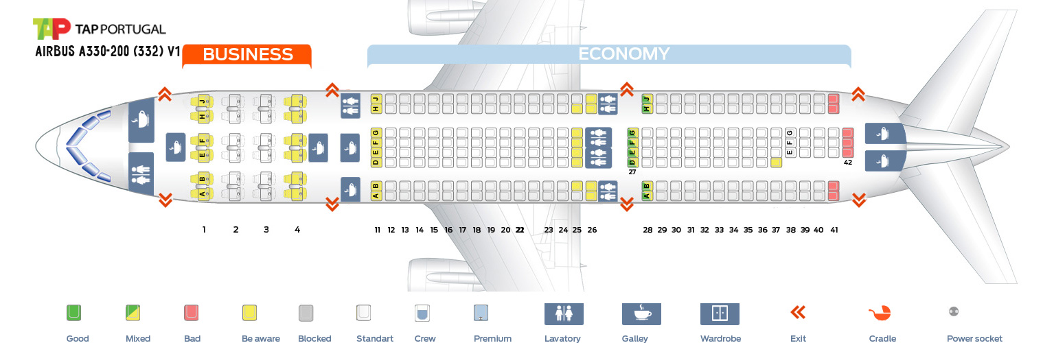 Seat Map And Seating Chart Airbus A330 200 V1 Tap Air Portugal