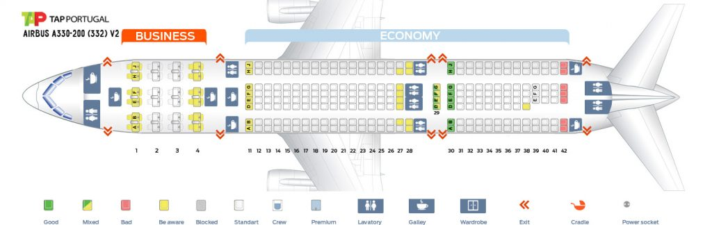 Seat Map and Seating Chart Airbus A330 200 V2 TAP Air Portugal