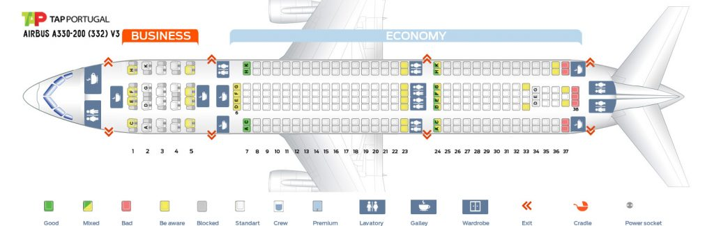 Seat Map and Seating Chart Airbus A330 200 V3 TAP Air Portugal