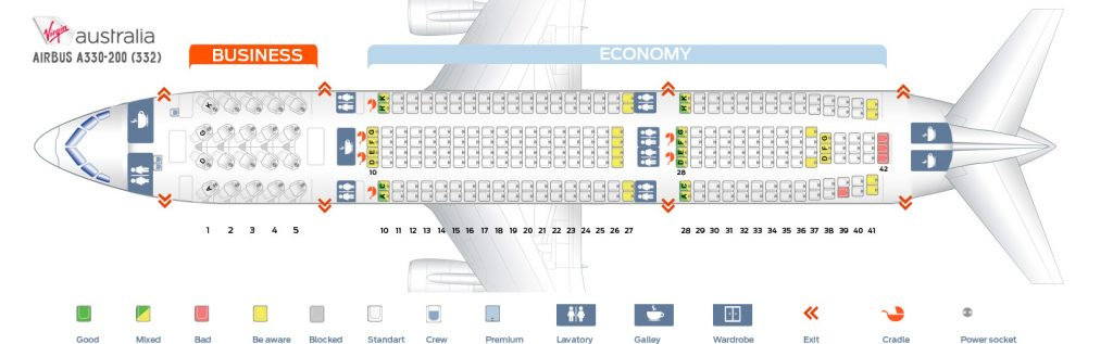 Seat Map and Seating Chart Airbus A330 200 Virgin Australia