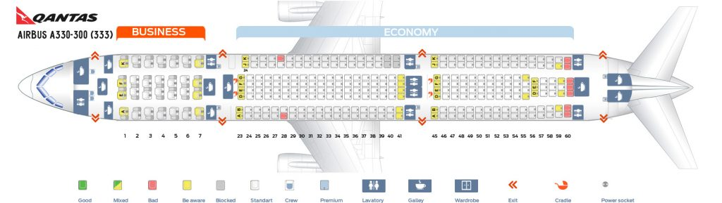 Seat Map and Seating Chart Airbus A330 300 Qantas