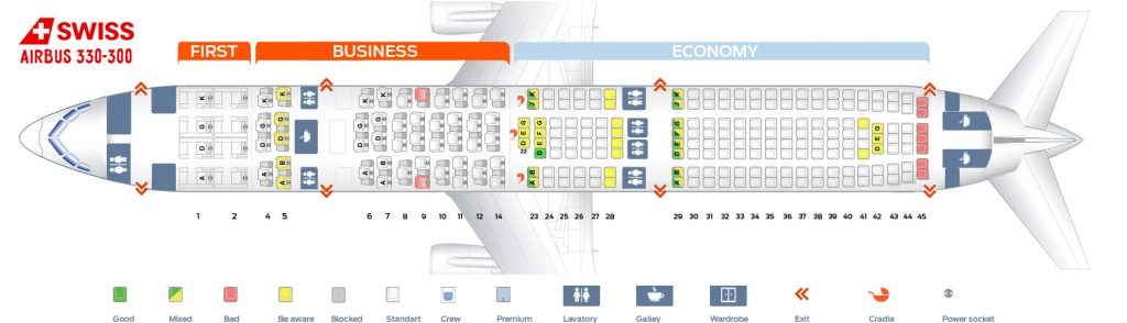 Seat Map and Seating Chart Airbus A330 300 SWISS