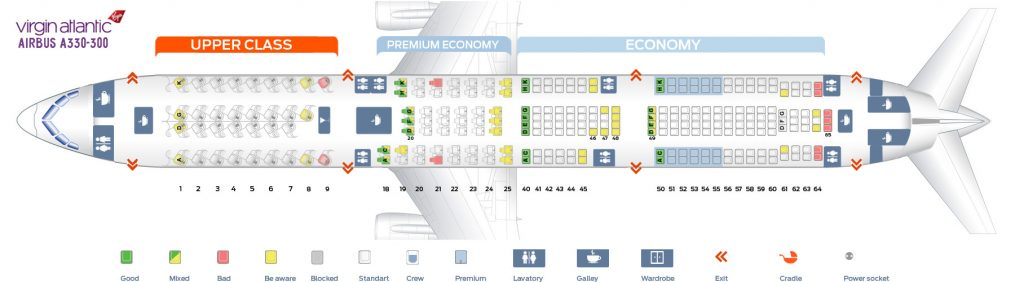 Seat Map and Seating Chart Airbus A330 300 Virgin Atlantic
