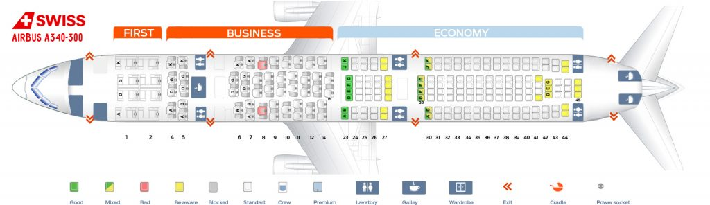 Seat Map and Seating Chart Airbus A340 300 SWISS