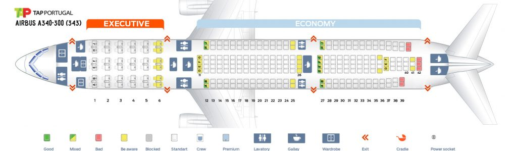 Seat Map and Seating Chart Airbus A340 300 TAP Air Portugal