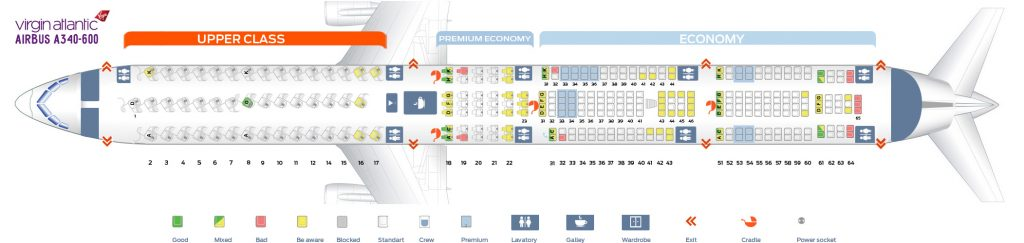 Seat Map and Seating Chart Airbus A340 600 Virgin Atlantic