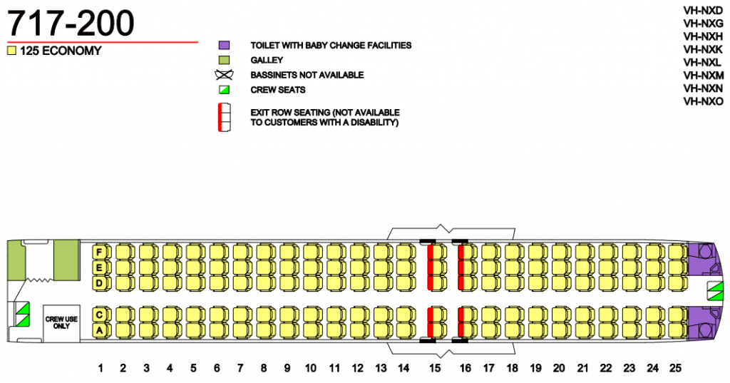 Seat Map and Seating Chart Boeing 717 200 Single Class QantasLink