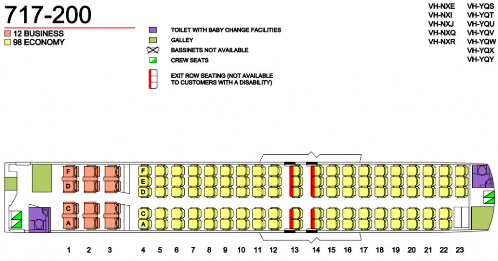 Seat Map and Seating Chart Boeing 717 200 Two Class QantasLink