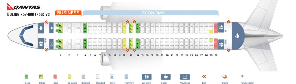 Seat Map and Seating Chart Boeing 737 800 Qantas