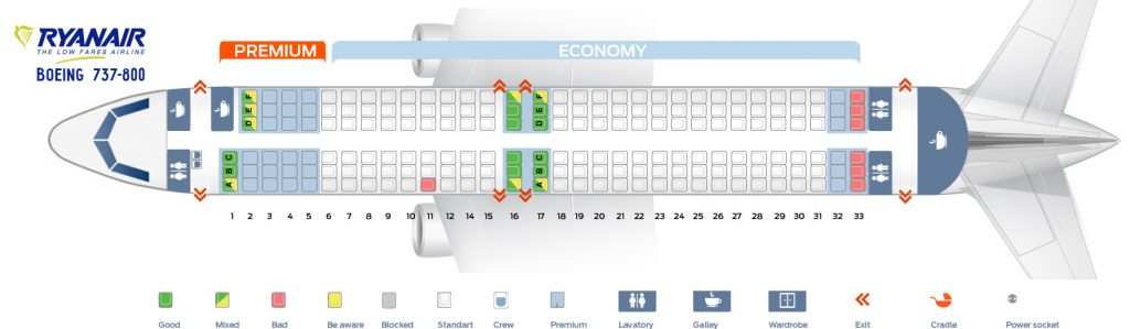 Seat Map and Seating Chart Boeing 737 800 Ryanair
