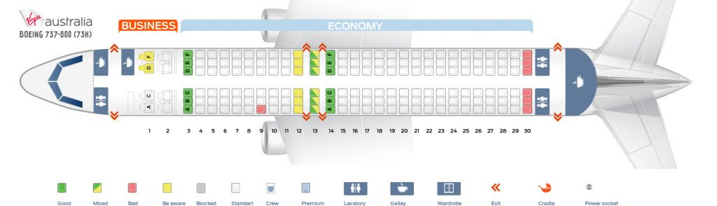 Seat Map and Seating Chart Boeing 737 800 Virgin Australia
