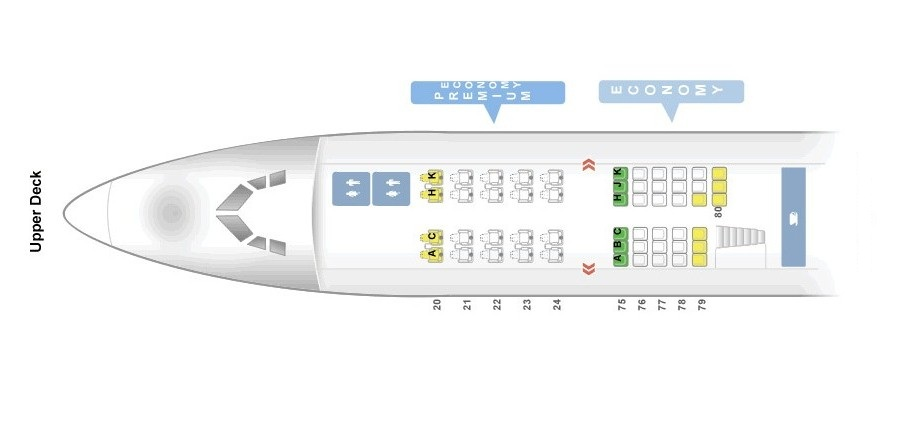 Seat Map and Seating Chart Boeing 747 400 Upper Deck Virgin Atlantic LGW