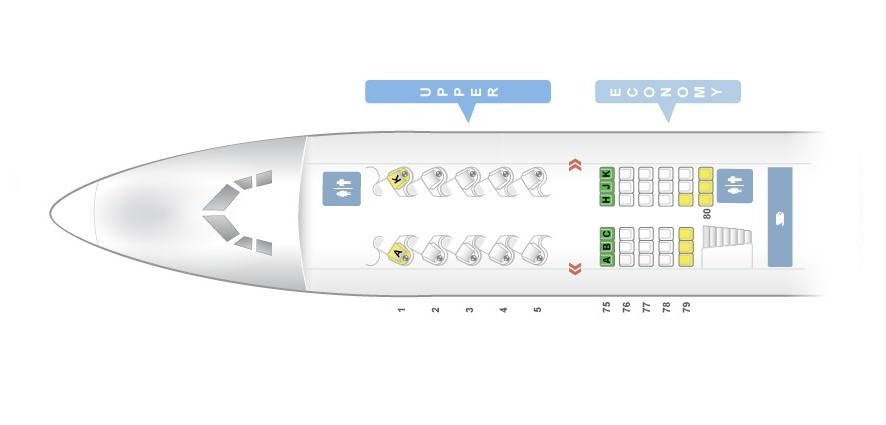Seat Map and Seating Chart Boeing 747 400 Upper Deck Virgin Atlantic LHR