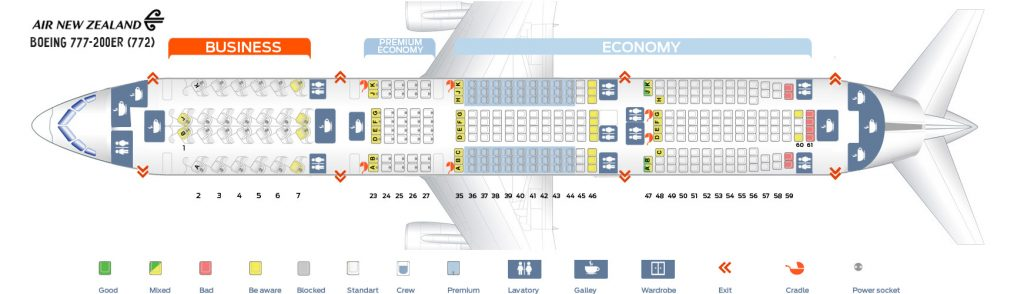 Seat Map and Seating Chart Boeing 777 200ER Air New Zealand