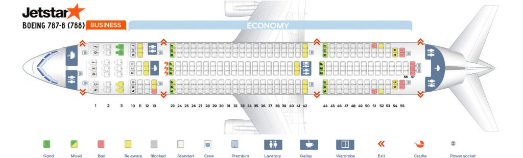 Seat Map and Seating Chart Boeing 787 8 Dreamliner Jetstar
