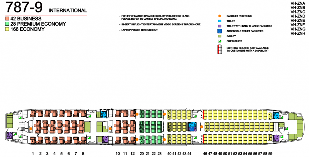 Seat Map and Seating Chart Boeing 787 9 Dreamliner Qantas