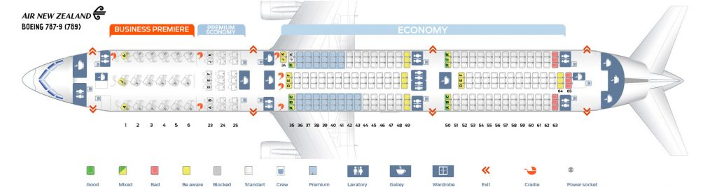 Seat Map and Seating Chart Boeing 787 9 Dreamliner V1 Air New Zealand