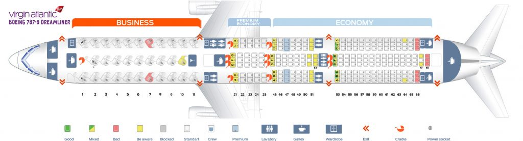 Seat Map and Seating Chart Boeing 787 9 Dreamliner Virgin Atlantic