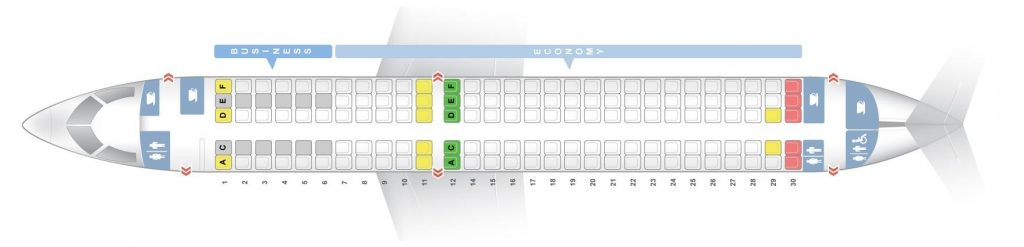 Seat Map and Seating Chart Bombardier CS300 SWISS